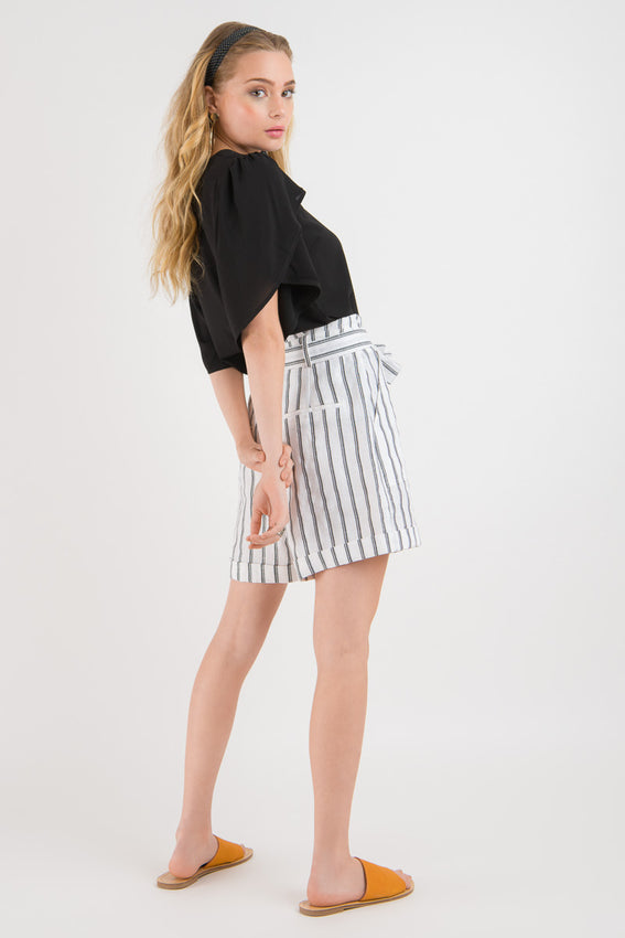 Linen Short - White stripe print Video