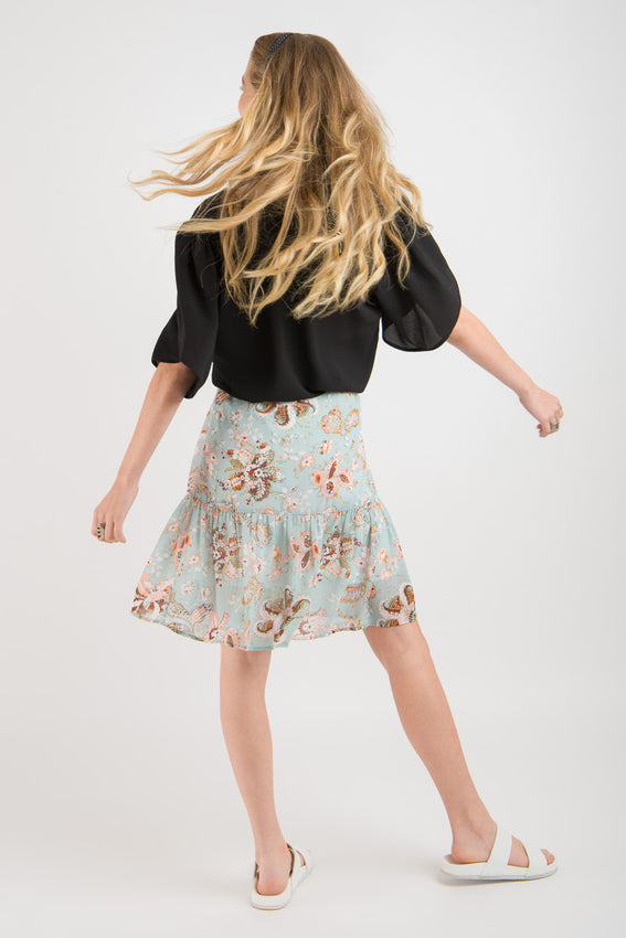 Ruffle Skirt - Mint print Video