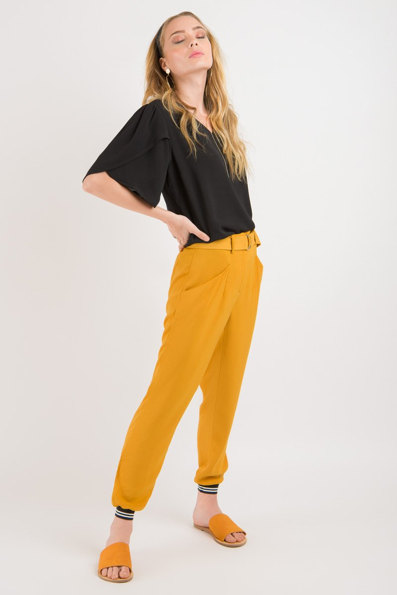 Hakama Pant - Gold with striped cuff