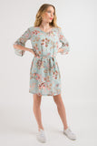V Neck Shift Dress - Mint print