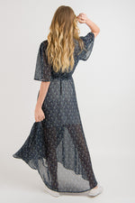 Wrap Dress - Navy print