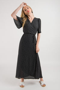Wrap Dress - Black Spot print