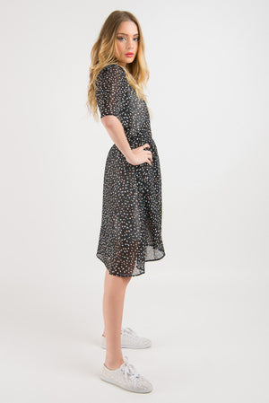 Short Wrap Dress - Navy Spot print