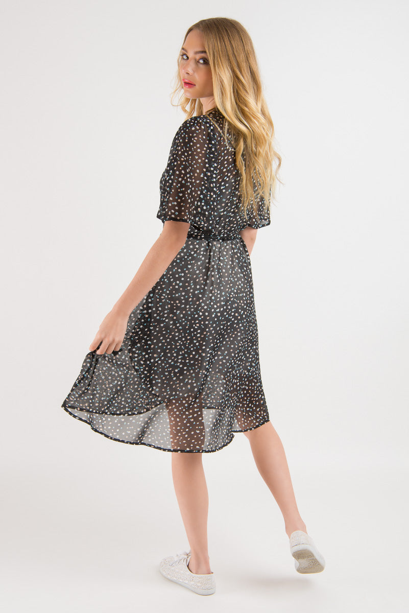 Short Wrap Dress - Navy Spot