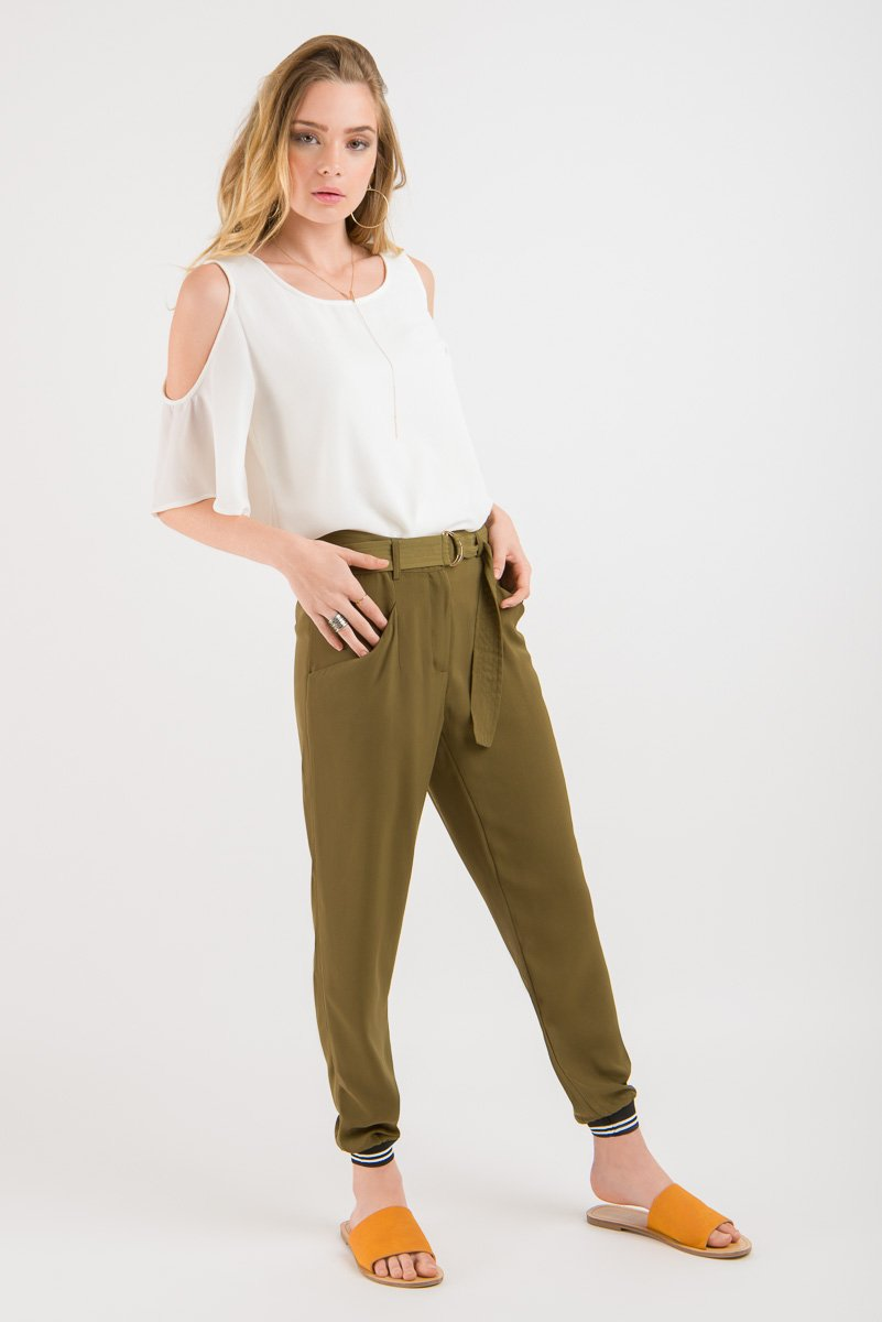 Hakama Pant - Khaki with striped cuff