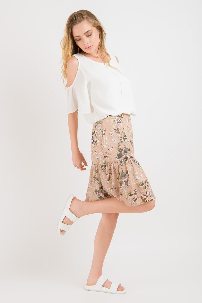 Ruffle Skirt - Blush print