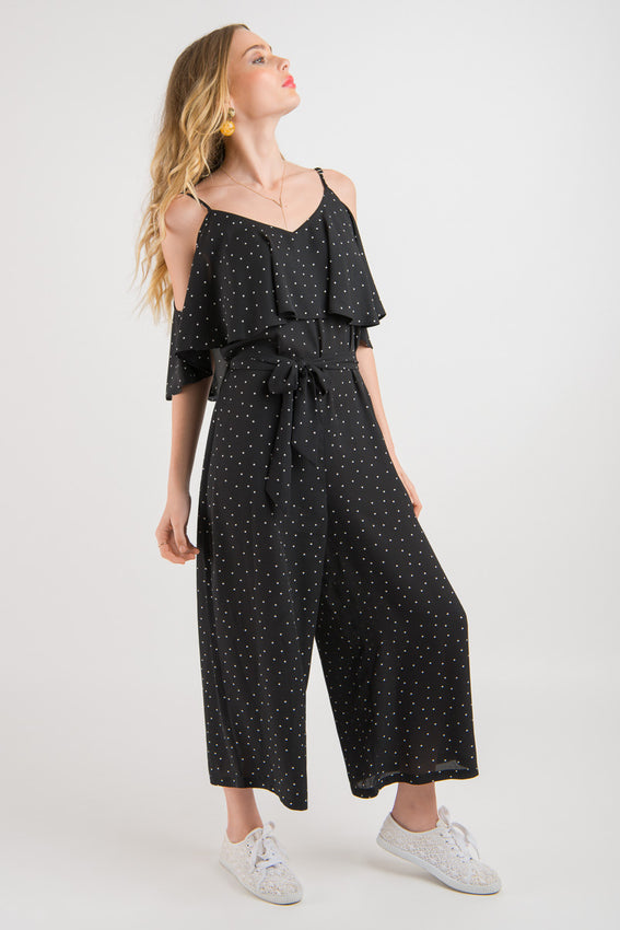 Ruffle Jumpsuit - Black Spot print Video