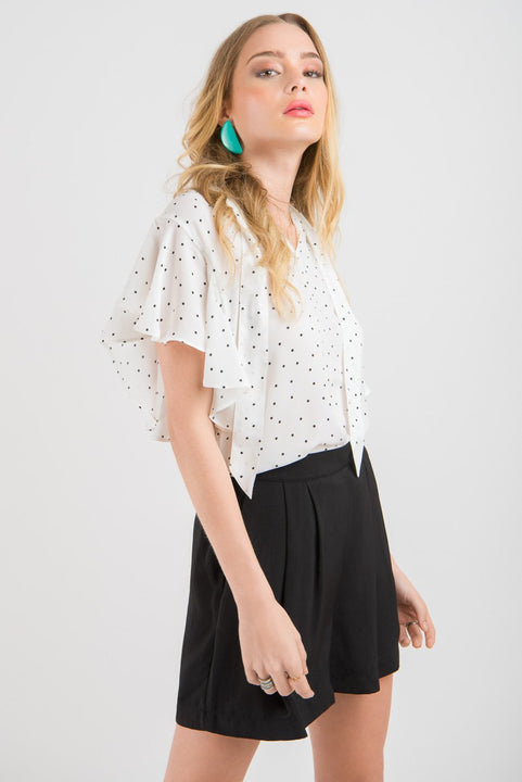 Tie Neck Ruffle Top - White Spot print