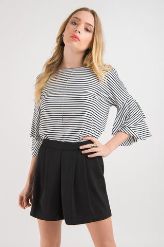 Flutter Casual Tee - White with Black stripes