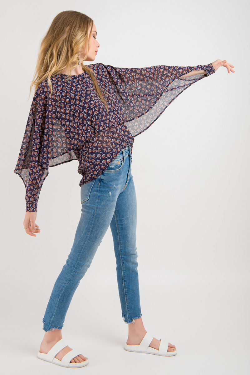 Split Cape Sleeve Top - Navy floral print