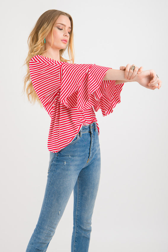 Flutter Casual Tee - White with Red stripes Video