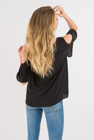 Cold Shoulder Top - Black