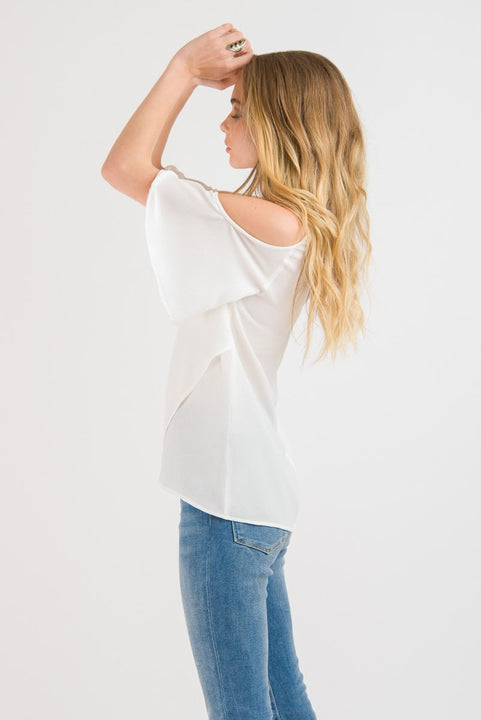 Cold Shoulder Top - White