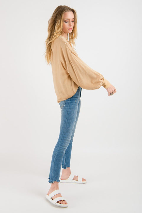 Cuff Sleeve Top - Gold