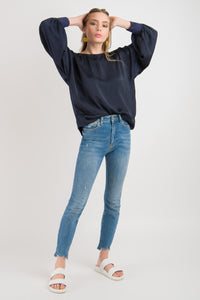 Cuff Sleeve Top - Navy
