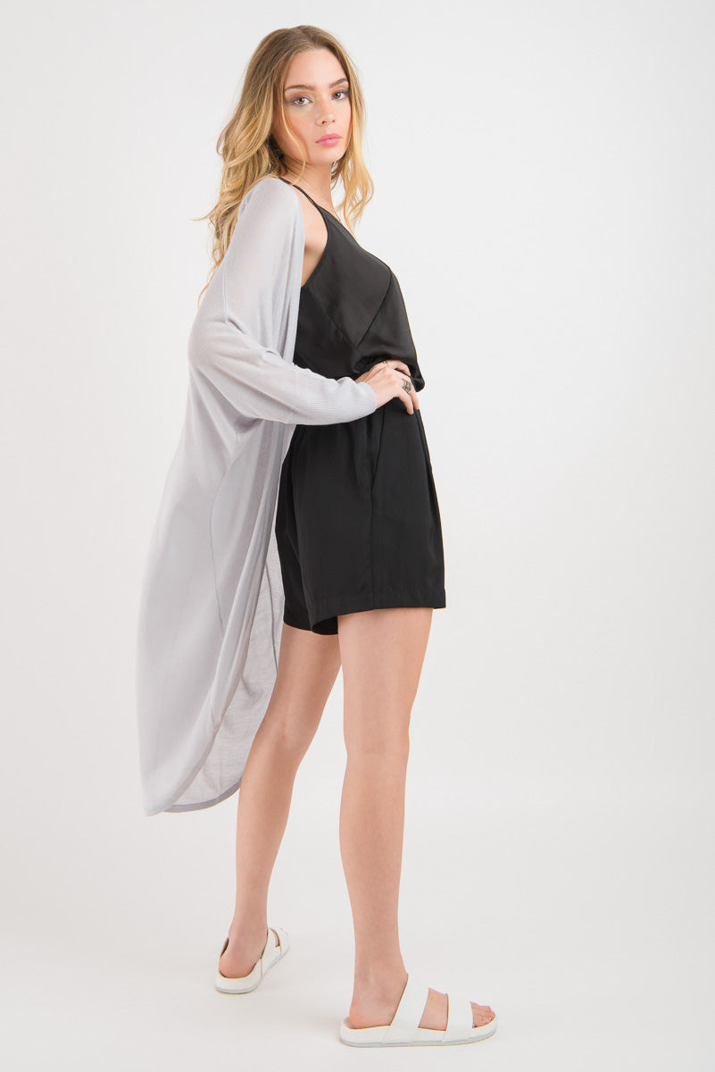 Longline Drapey Shrug - Light Grey