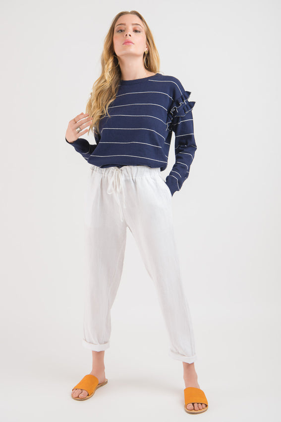 Ruffle Sweater - Navy Stripe Video