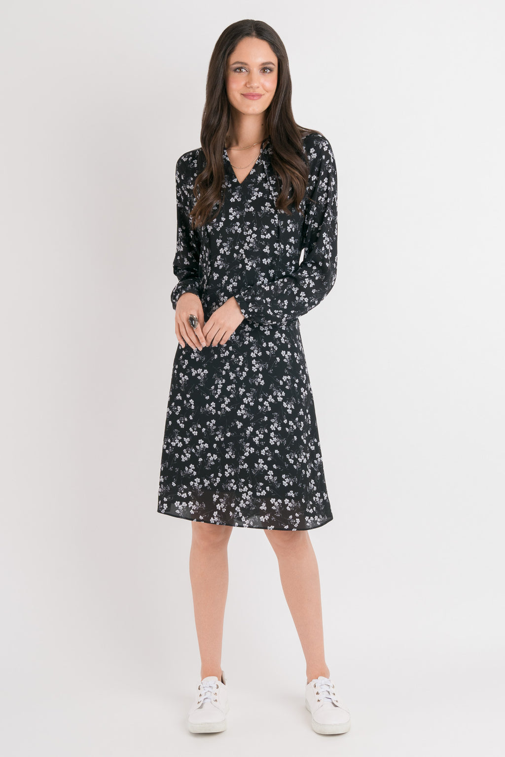 Raglan Dress - Black Floral