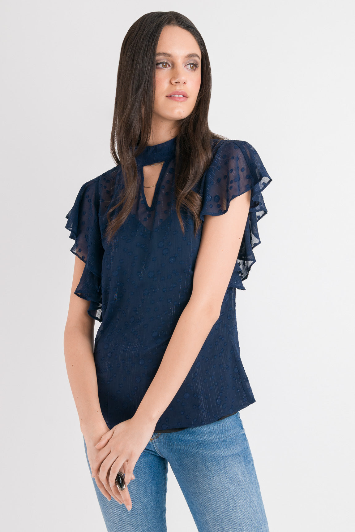 Tie Neck Ruffle Top - Blue Spot