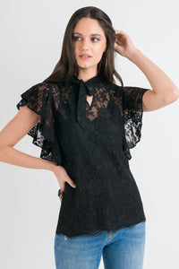Tie Neck Ruffle Top - Black Lace