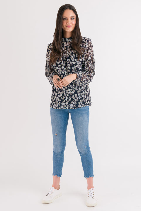 Olivia Blouse - Navy Floral