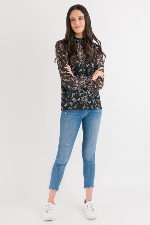 Emma Blouse - Black Floral