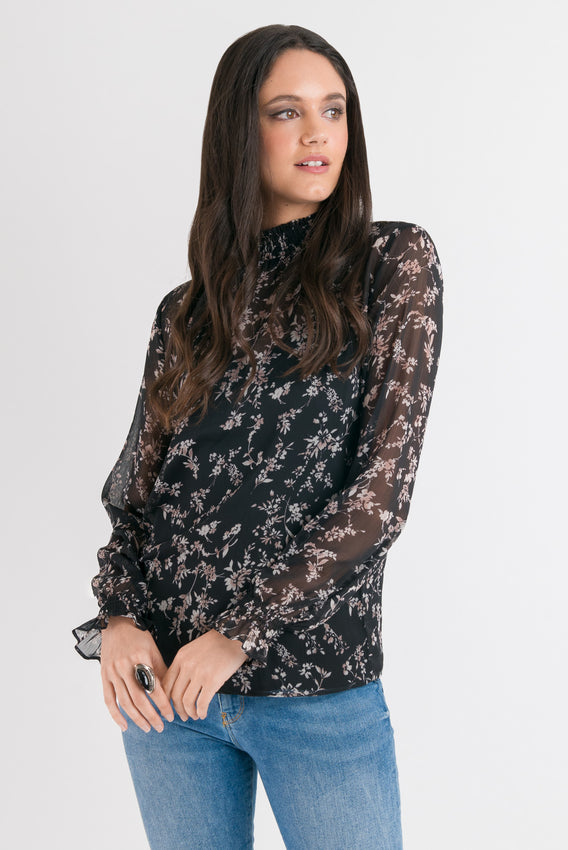 Emma Blouse - Black Floral Video
