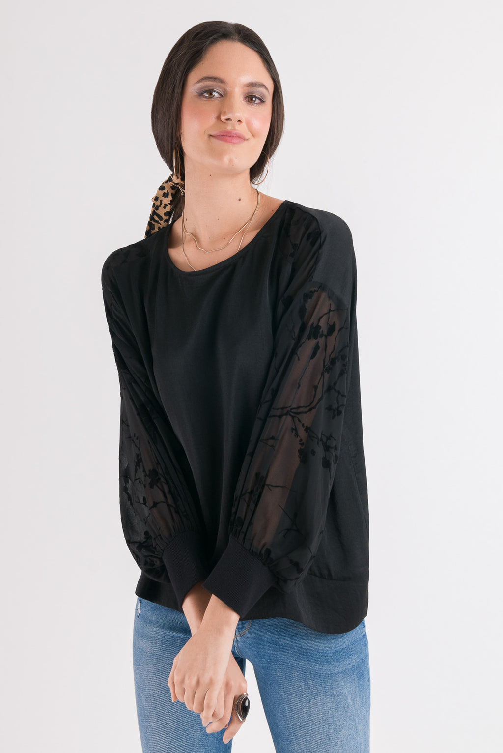Print Sleeve Top - Black