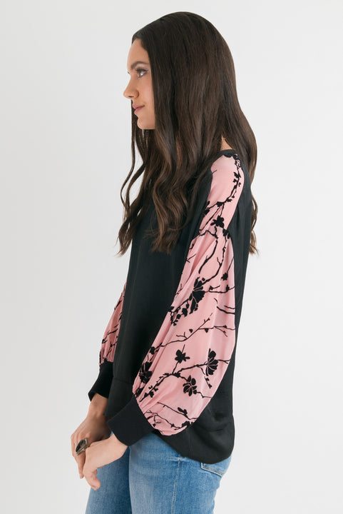 Print Sleeve Top - Blush