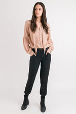 Tie Neck Shirt - Blush