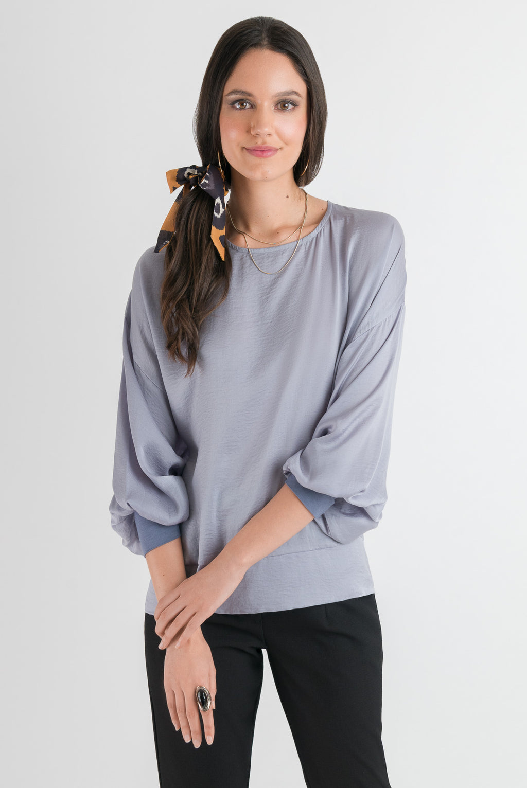 Cuff Sleeve Top - Blue