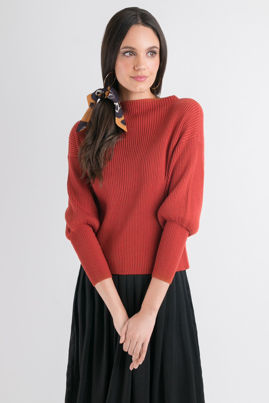 Blouson Sleeve Sweater - Rust