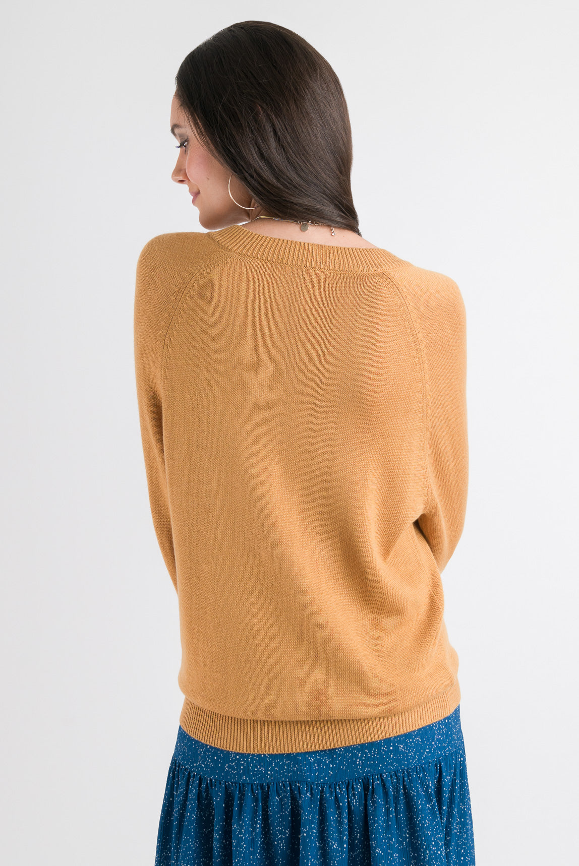 V Neck Sweater - Gold