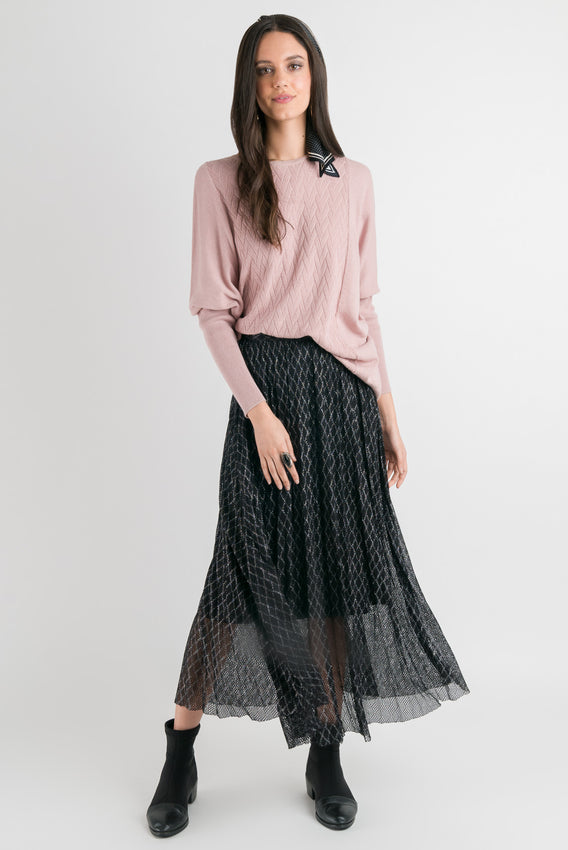 Mesh Pleated Skirt - Black Lace Video