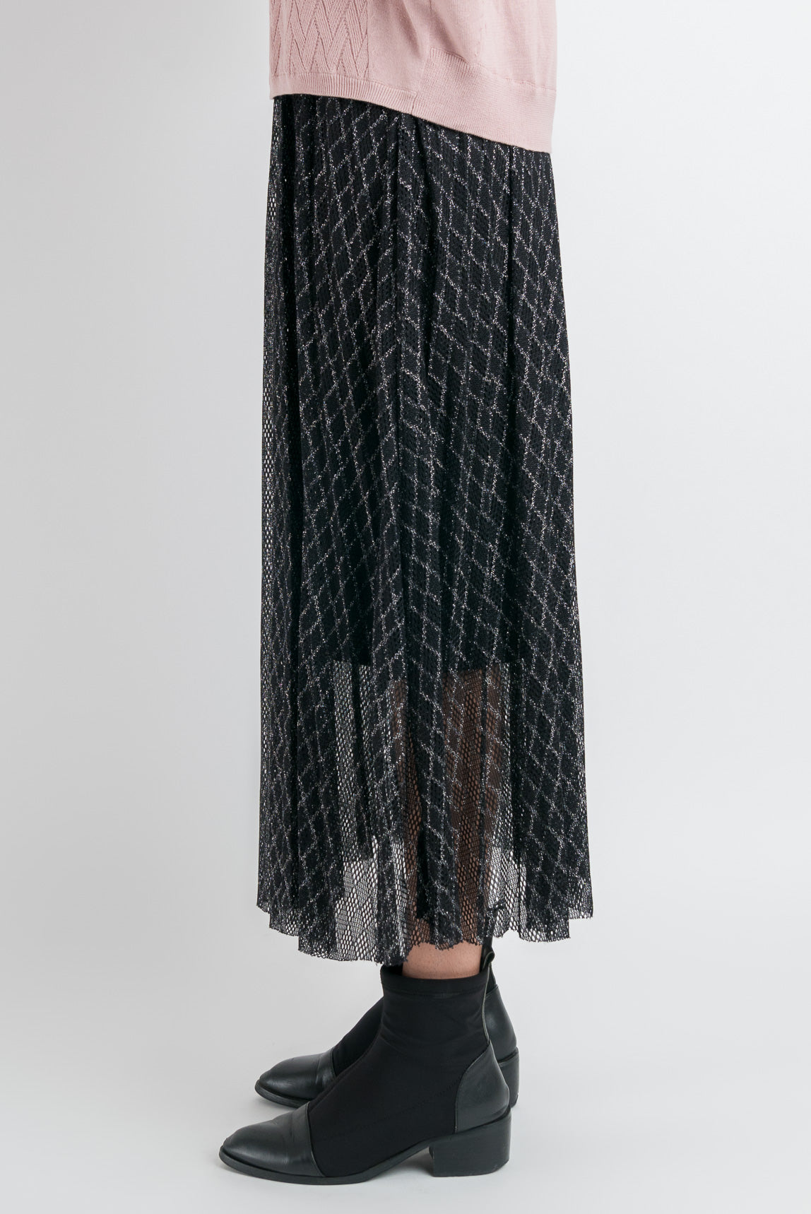 Mesh Pleated Skirt - Black Lace