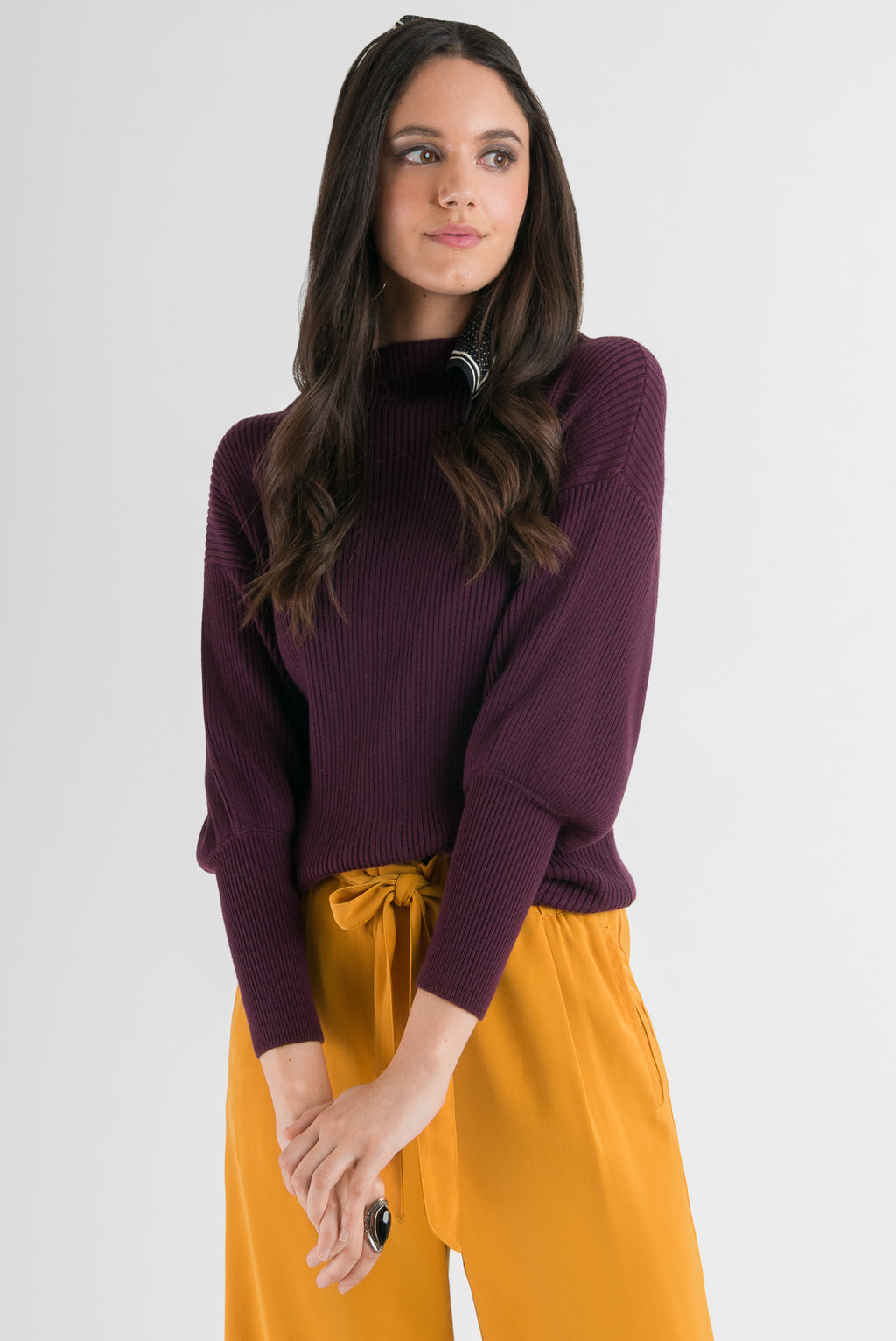 Blouson Sleeve Sweater - Merlot