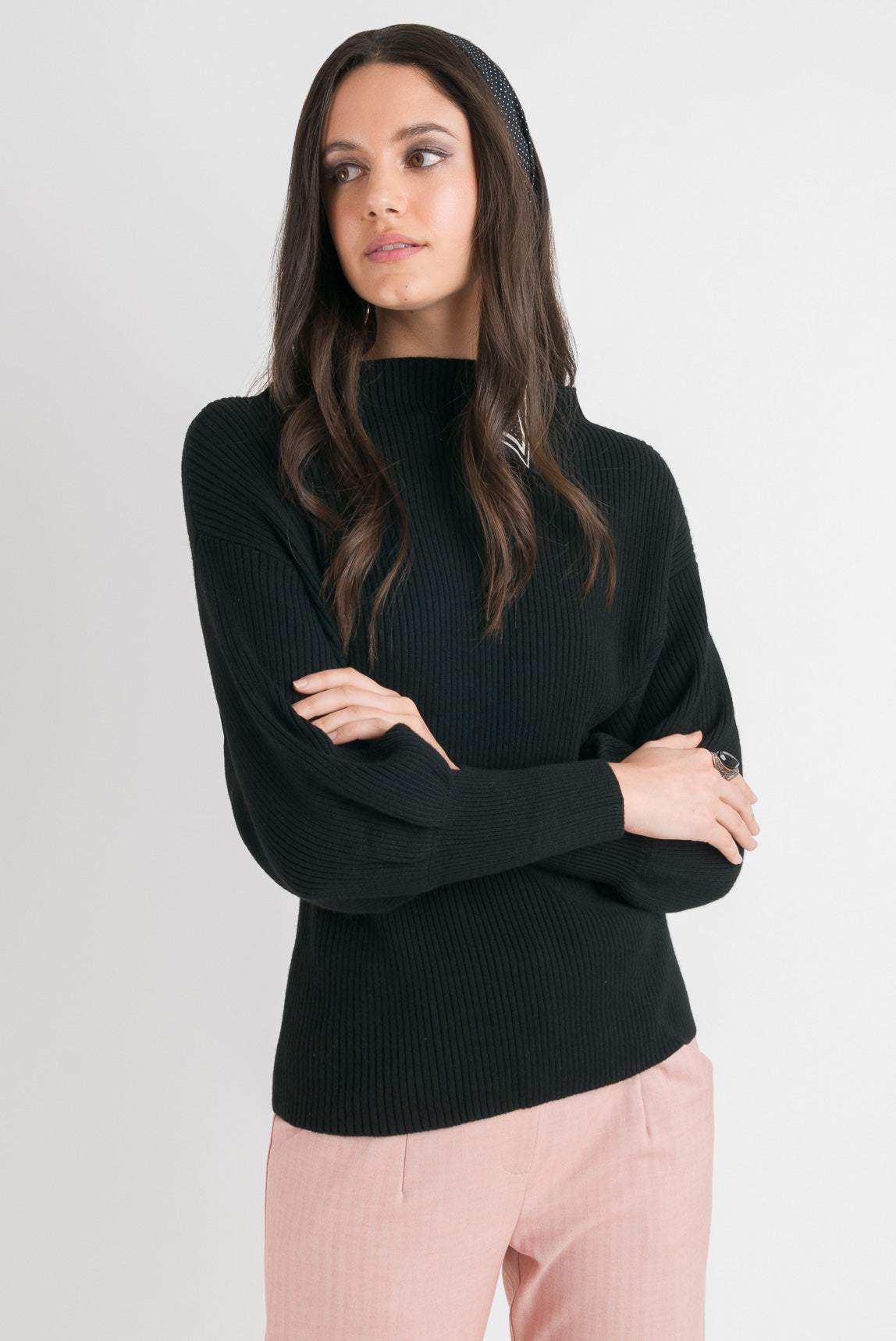 Blouson Sleeve Sweater - Black