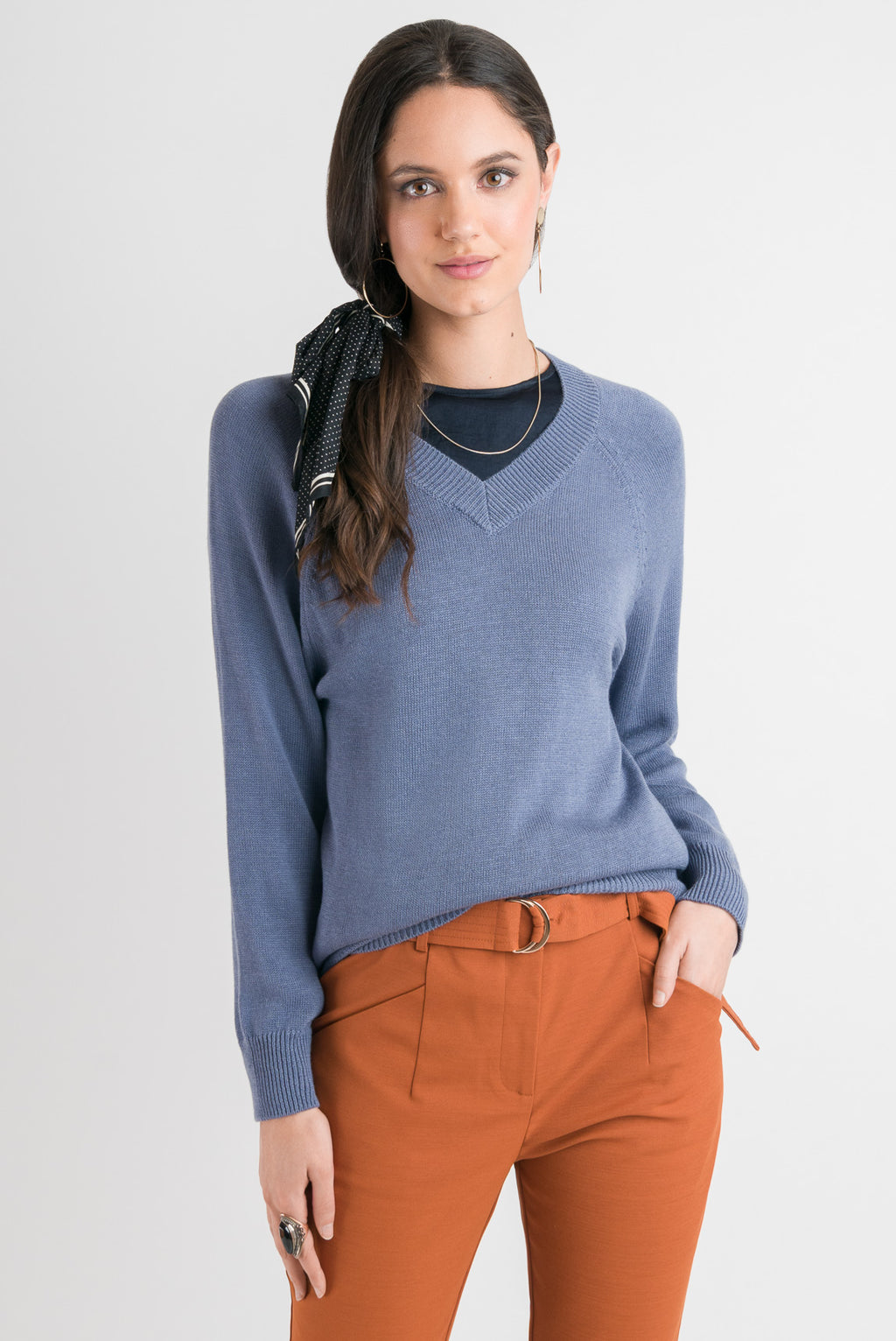 V Neck Sweater - Blue