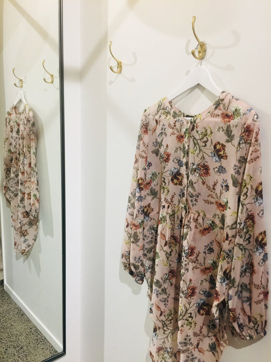 High Low Shirt - Blush floral