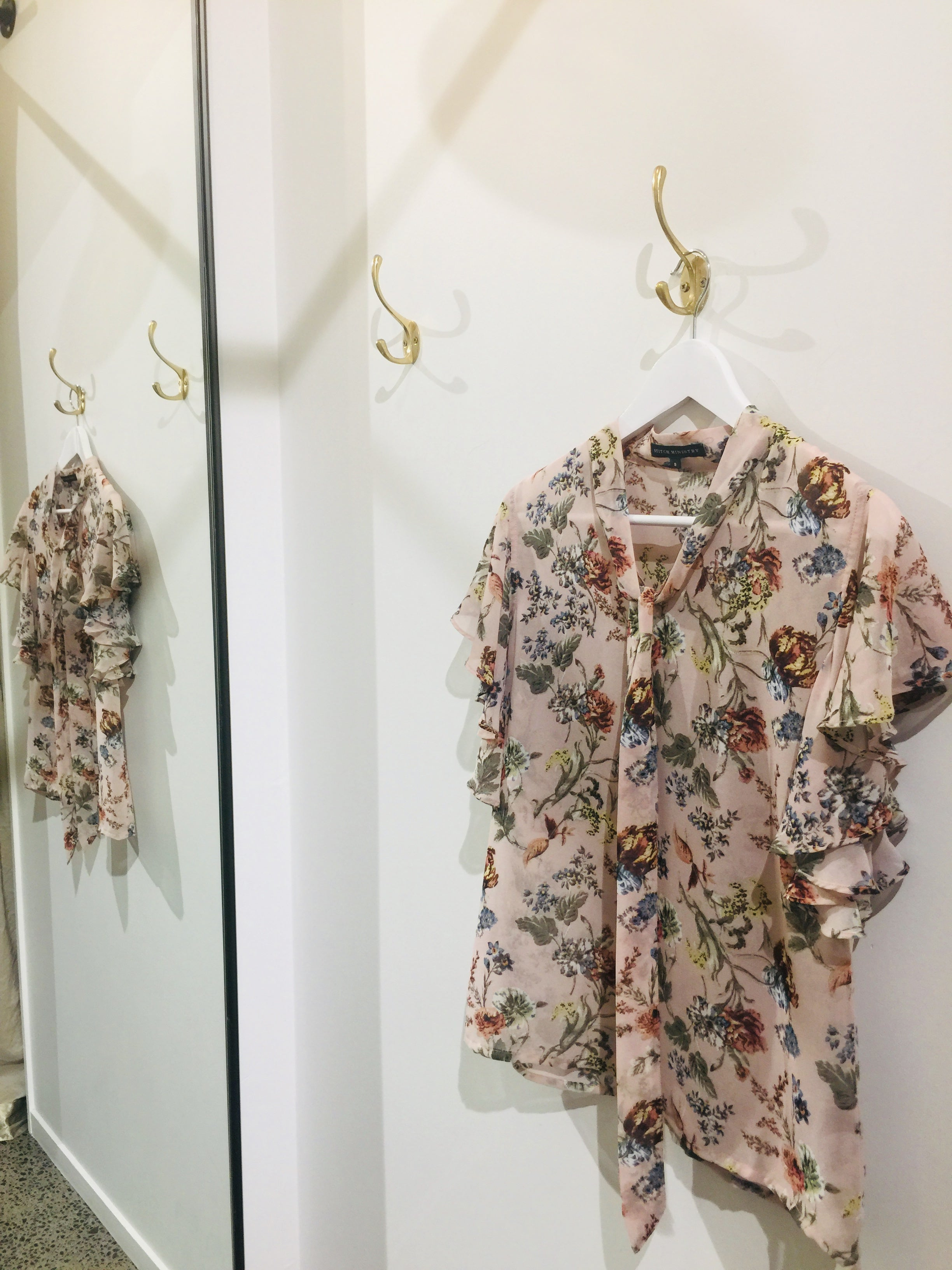 Tie Neck Ruffle Top - Blush Floral