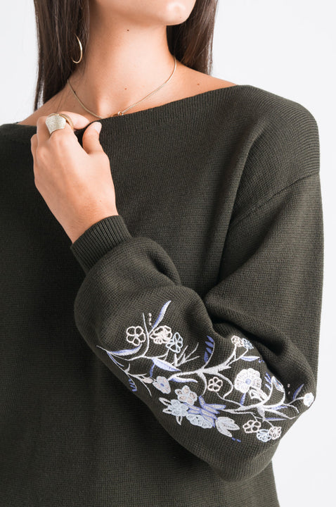 Embroidered Sweater - Dark Green