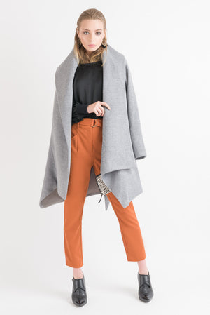 Wrap Coat - Grey Marle