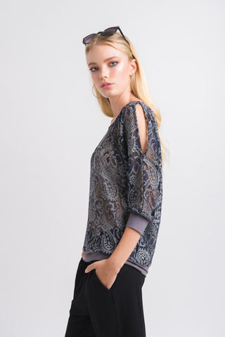 Batwing Top - Navy Grey Lace