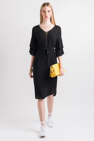 Ruffle Sleeve Dress - Black
