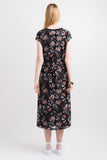 Contrast Tie Dress - Black/Pink print