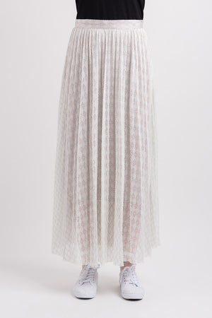 Mesh Pleated Skirt - White Lace