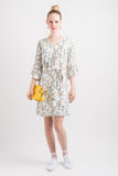 V Neck Shift Dress - Cream Orient print