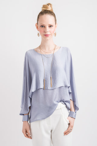 Split Cape Sleeve Top - Blue