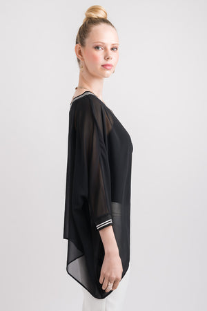 Rib Drape Cape Top - Black