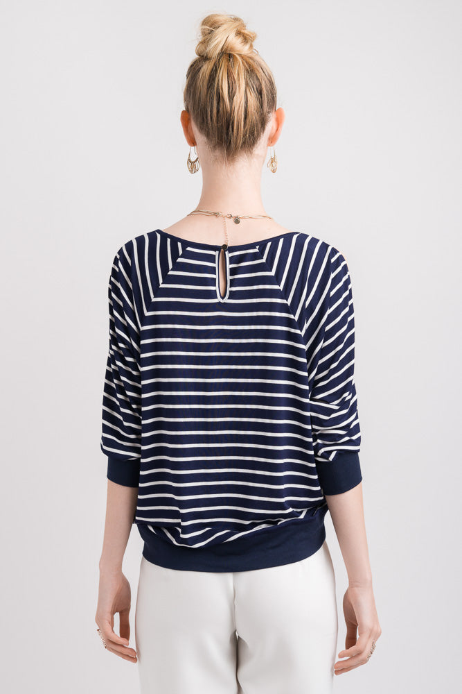 Batwing Stripe Top - Navy